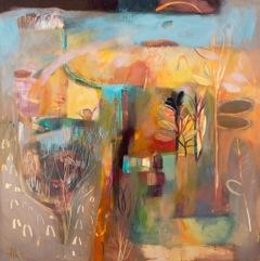 """Working the Land, Acrylic on Panel, 42"""" x 42"""""""
