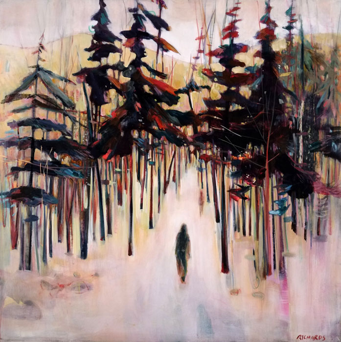 """Forest Walkers, Acrylic on Panel, 42"""" x 42"""""""