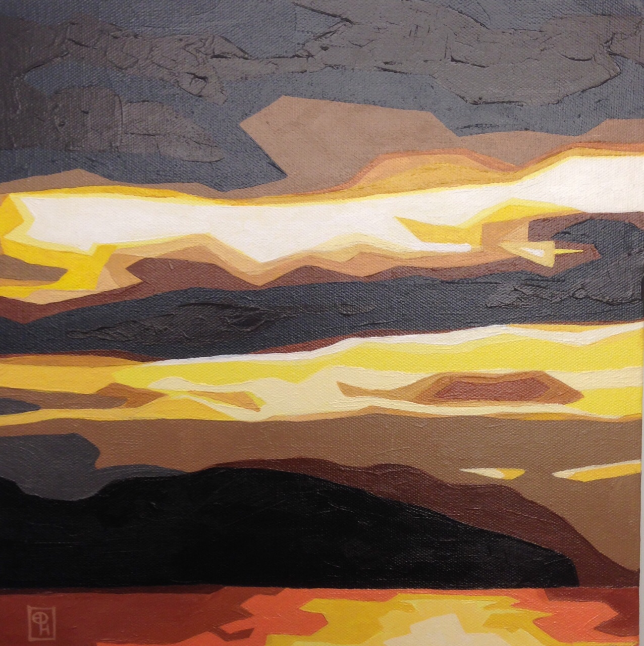 "Erica Hawkes, ""Soft Gold"", Acrylic on Canvas, 12"" x 12"""