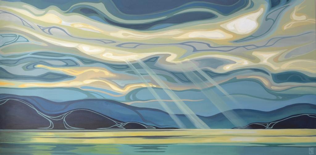 "Erica Hawkes, ""Larimar Sky"", Acrylic on Canvas 30"" x 60"""