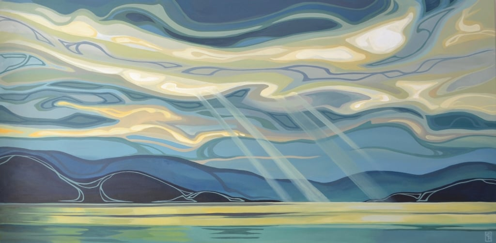 "Erica Hawkes, Larimar Sky II, Acrylic on Canvas, 30""x60"""