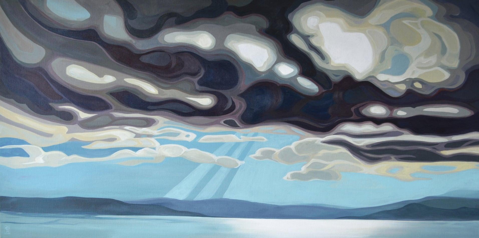 "Erica Hawkes, Rays of Light, Acrylic on Canvas, 24"" x 48"""