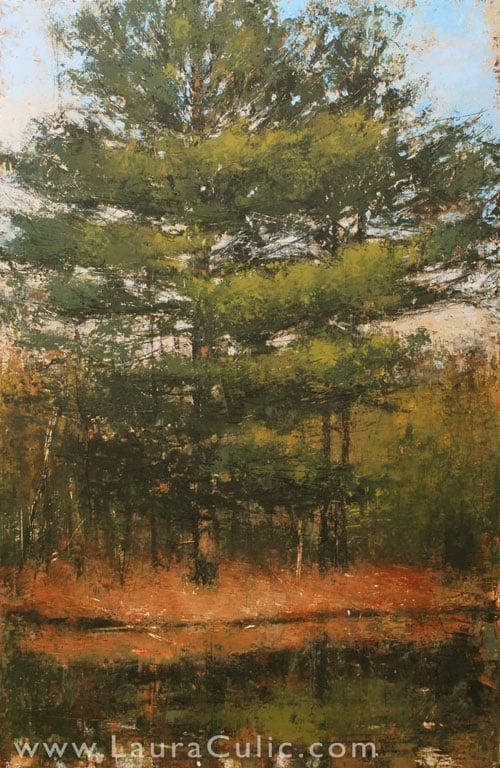 """Laura Culic, Eel's Creek I, cold wax on panel, 36"""" x 24"""""""