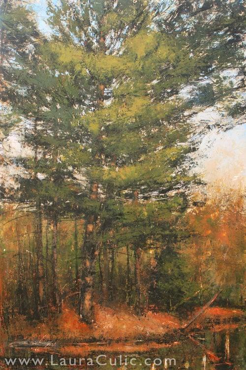 """Laura Culic, Eel's Creek II, cold wax on panel, 36"""" x 24"""""""