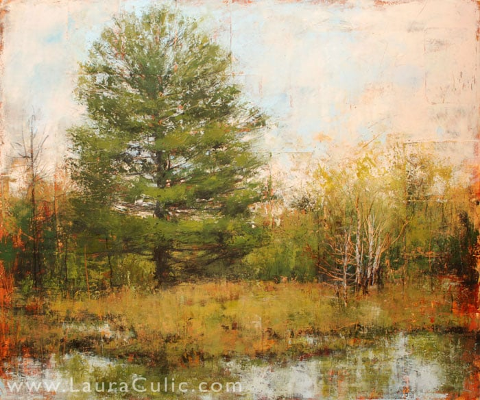 """Laura Culic, Southwood, cold wax on panel, 40"""" x 48"""""""