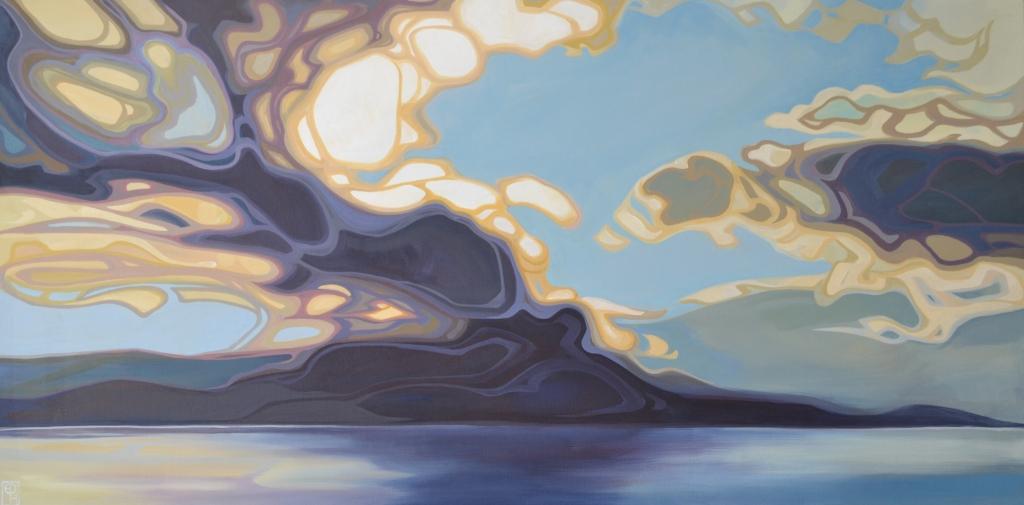 """Erica Hawkes, """"Sky Fall"""", Acrylic on Canvas, 24"""" x 48"""""""