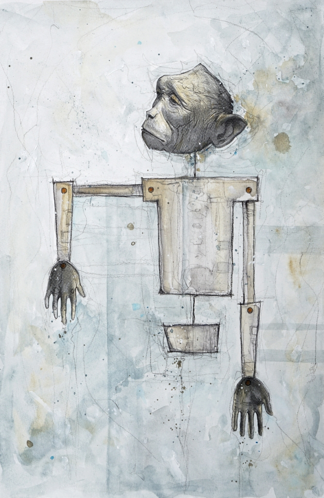"Mat Dubé, ""Remote Gesture,"" Mixed Media on Paper, 18"" x 12"""