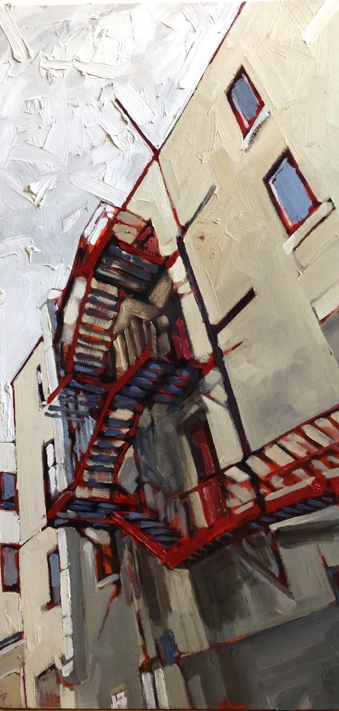 "Stewart Jones, ""Escape is @ Hand - Winnipeg,"" Oil, 36"" x 18"""