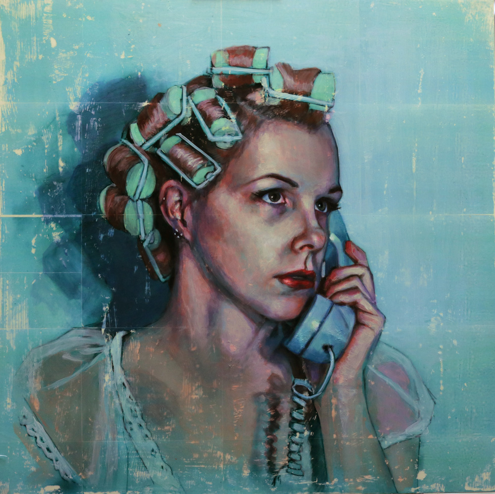 """Kelly Grace,  Woman in Curlers , mixed media on panel, 36""""x36""""  WALL SPACE GALLERY is very pleased to welcome artist Kelly Grace to Ottawa with her solo exhibit """"Between Light and Shadow"""". Inspired by film noir and Rod Serling's The Twilight Zone, Toronto artist Kelly Grace explores film narratives, nostalgia, and personal memory in her newest body of work. Between Light and Shadow marks the progressive development in both thematic clarity and painting in Grace's art as illustrated through her large scale paintings, works in tin and on paper."""
