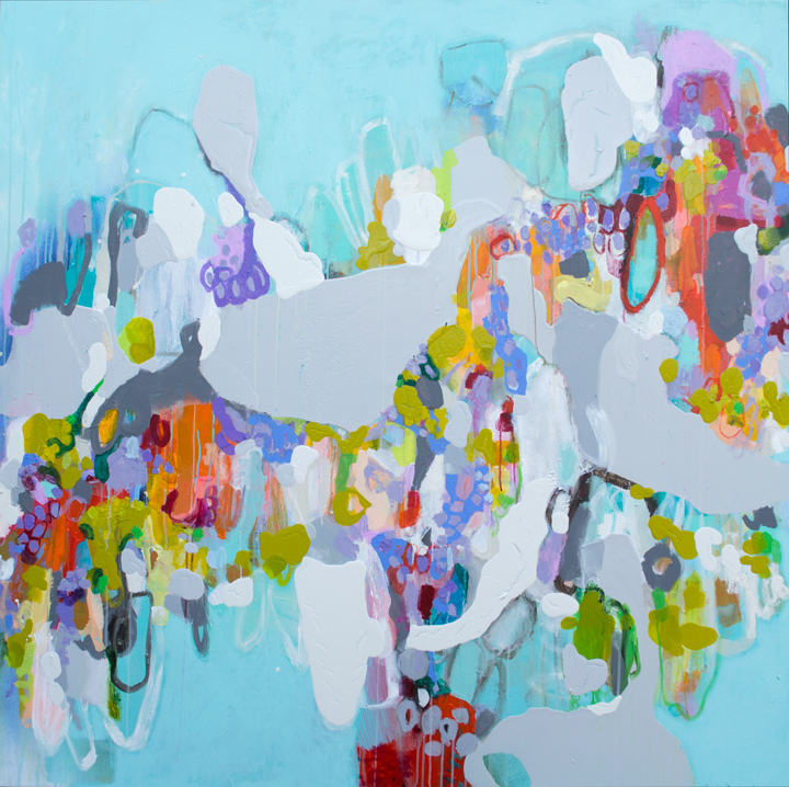 "Claire Desjardins,  Time Travel , acrylic on canvas, 60"" x 60"""
