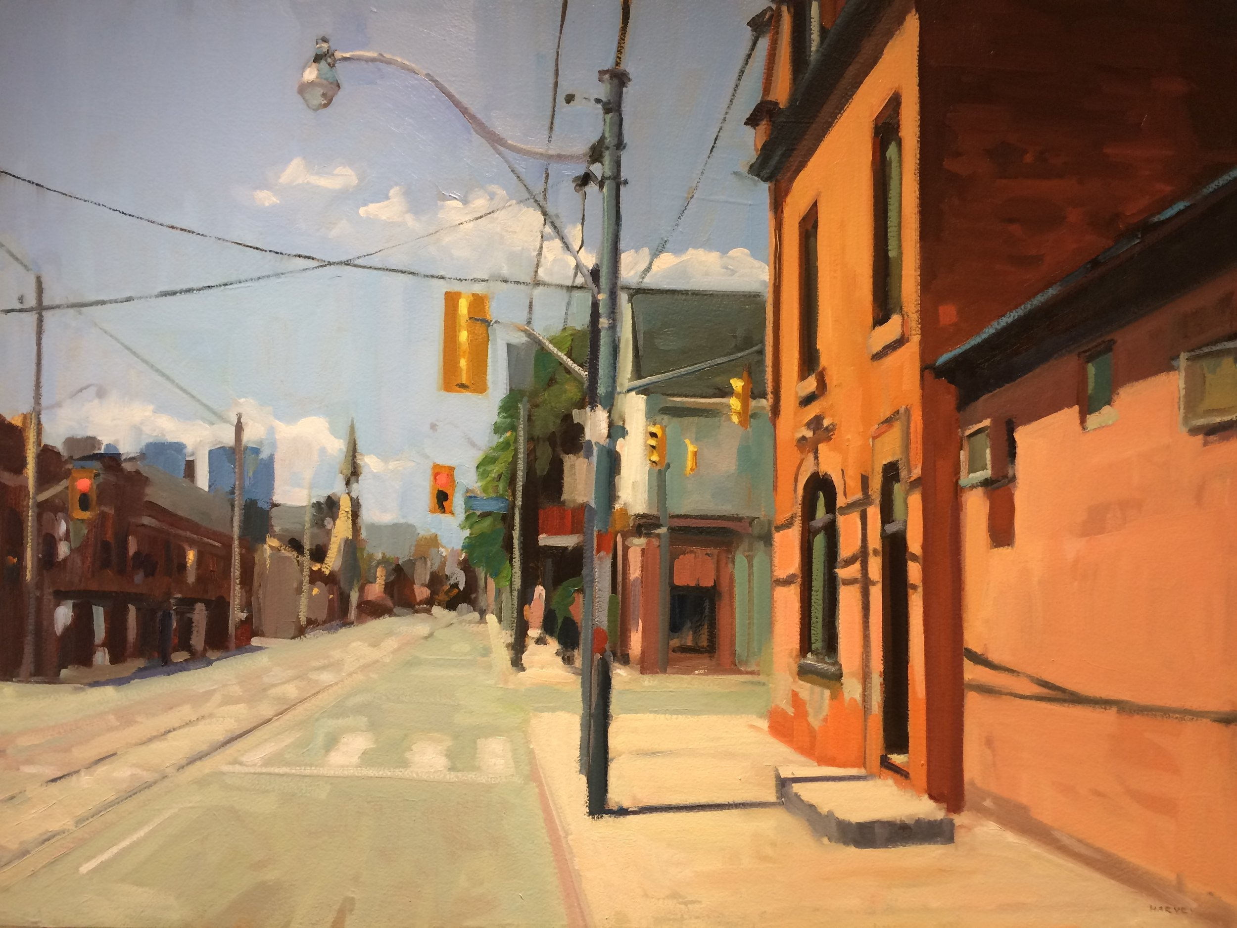 "Brian Harvey, Dundas St. E., oil on panel, 40"" x 30"""