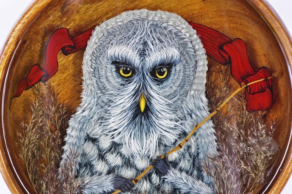 """Grey Owl , 10"""" diameter, mixed media and acrylic diorama"""