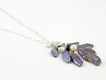 Valentina Necklace with Swarovski crystals and freshwater Keishi pearls by  Brenda Wong of Lirical Jewellery