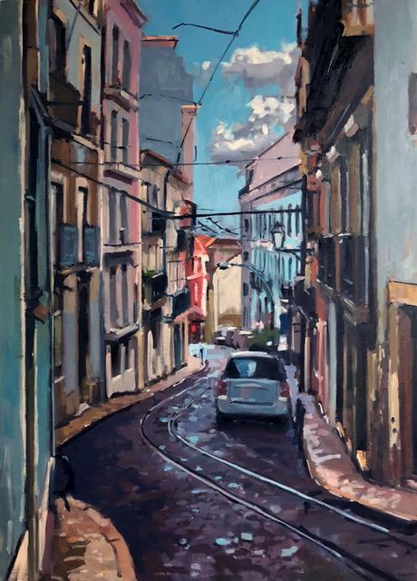 "Brian Harvey,  Alfama Street , 26"" x 36"" oil"