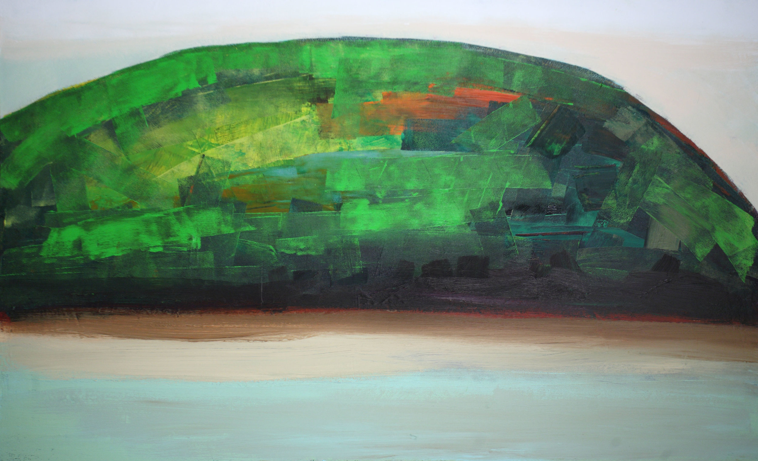 """Peter Colbert, """" River Oasis """", acrylic on canvas, 48"""" x 24"""""""