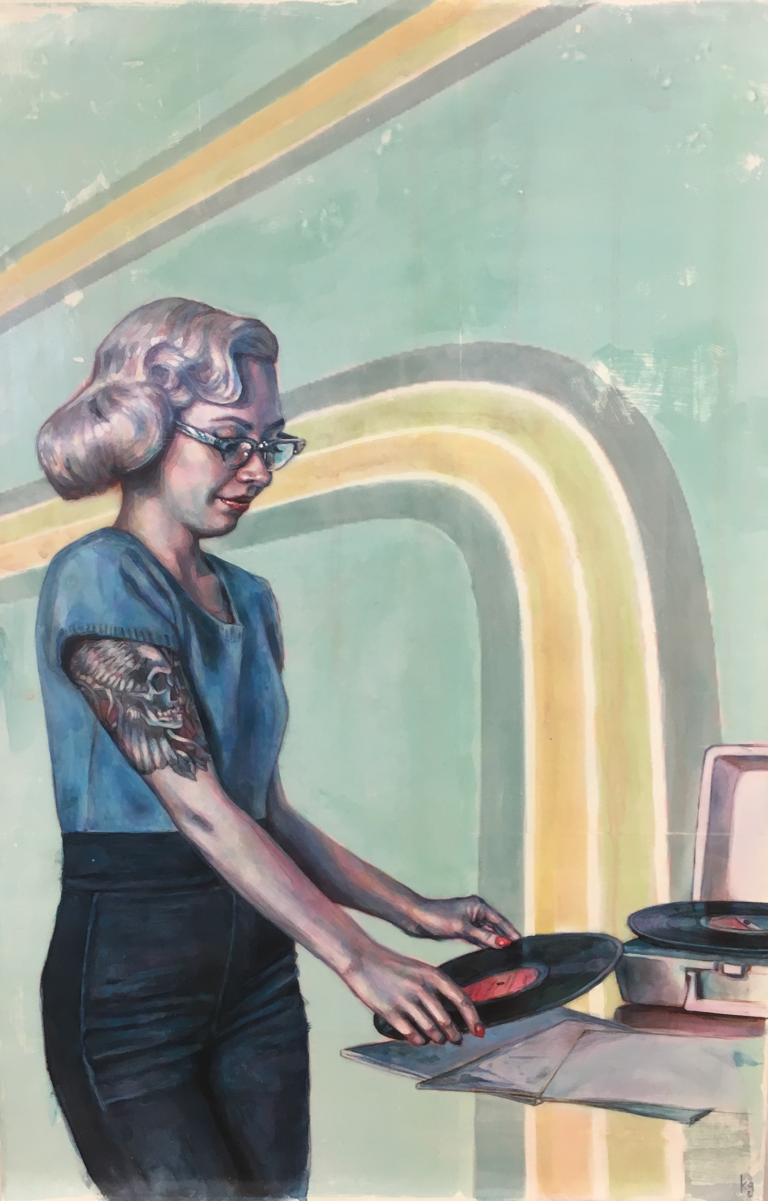 """Kelly Grace,  Put Another Record On , acrylic on panel, 20"""" x 30"""" - click here for full collection"""