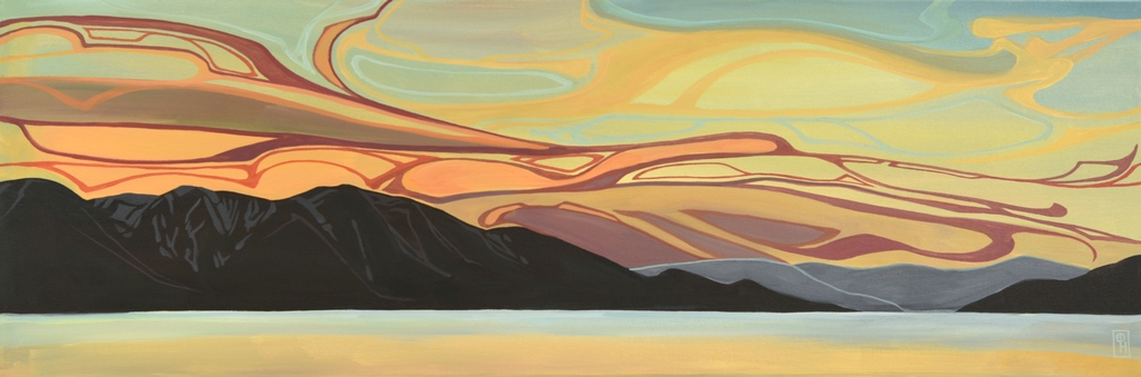 Erica Hawkes,  Silver and Gold , acrylic on canvas, 36 x 12 in.