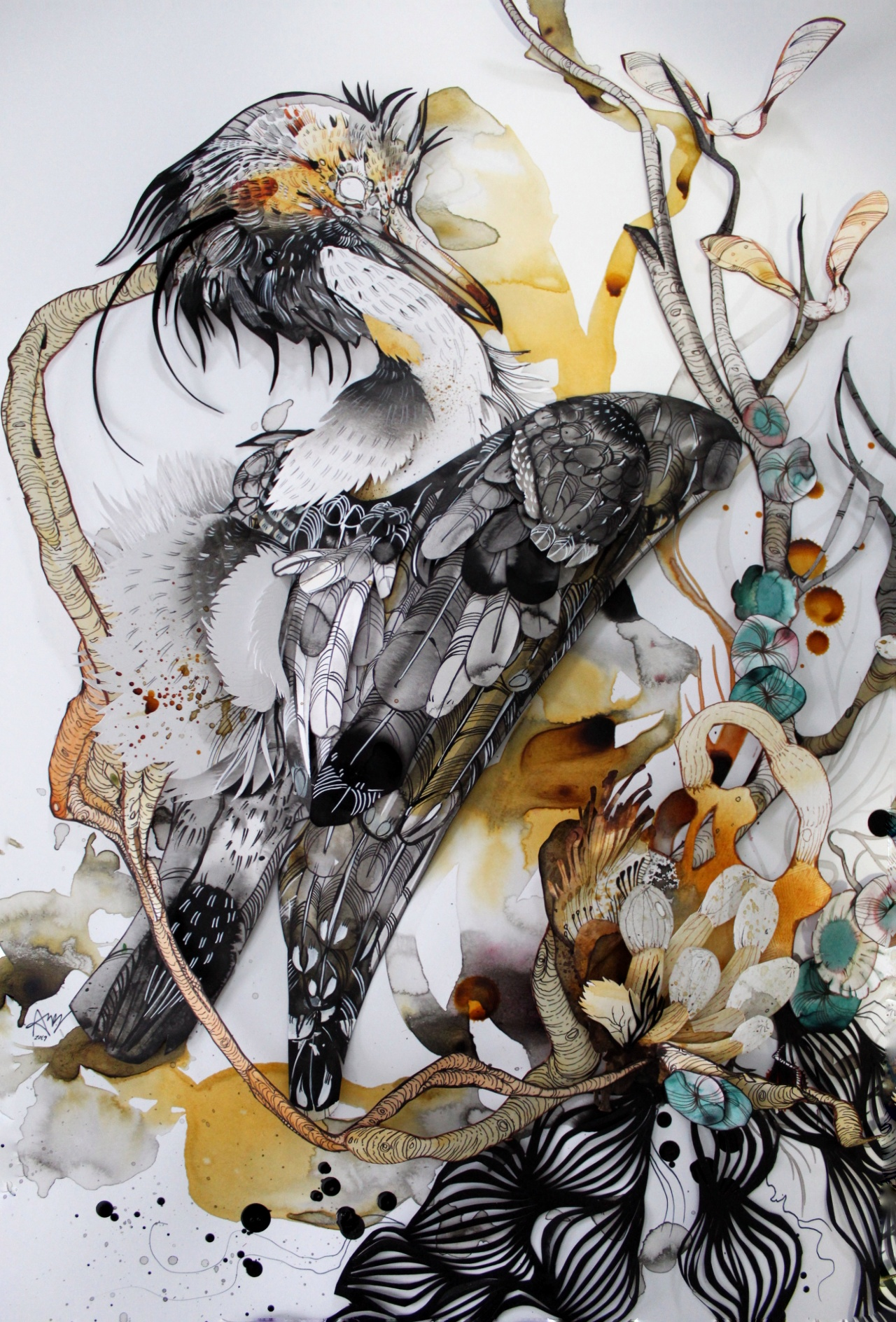 Ariane Beauchamp,  Heron and Fungi  (detail), ink and watercolour with paper collage
