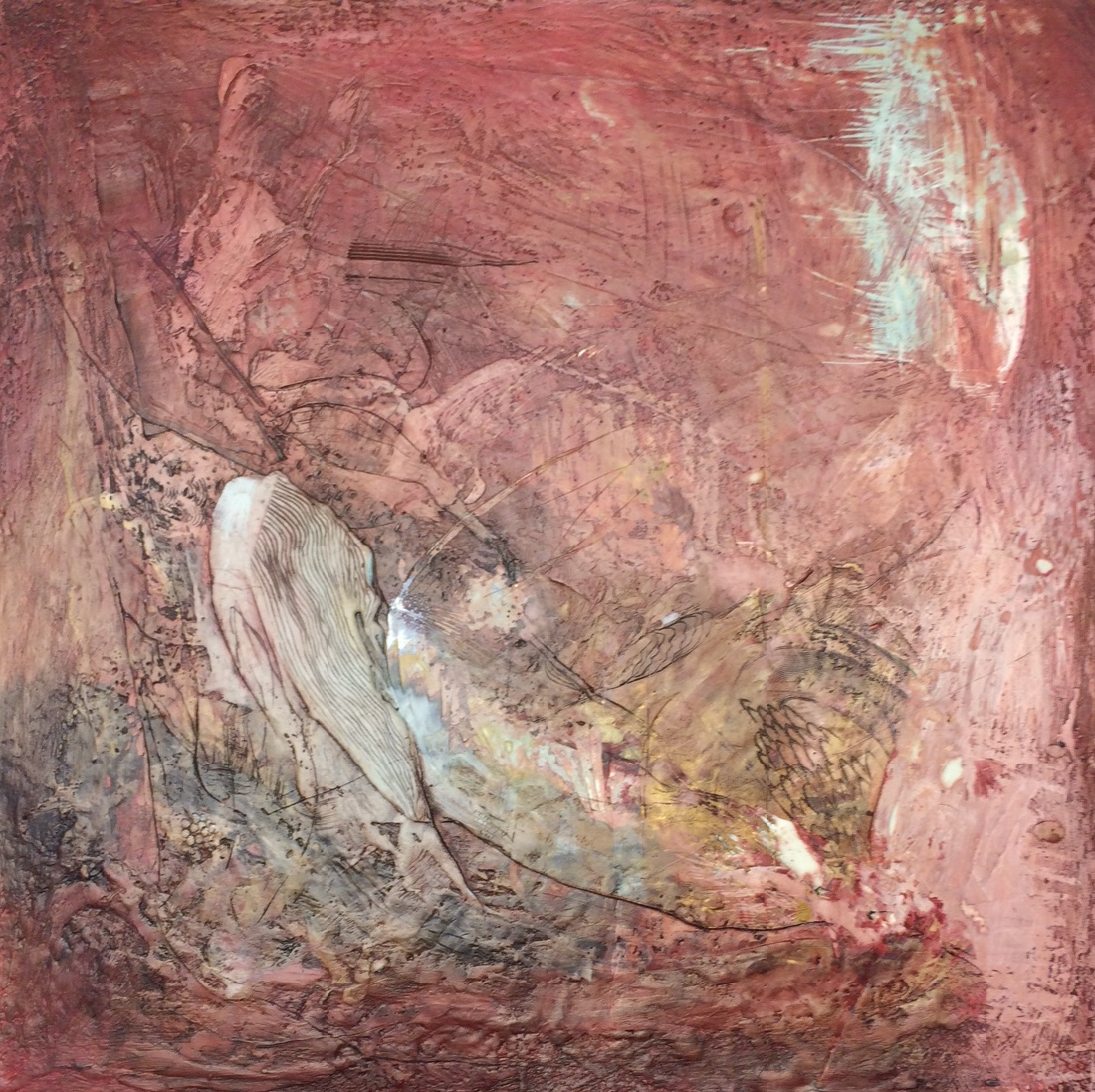 Red Archetype , encaustic on canvas, 24 x 24 in. (61 x 61cm)
