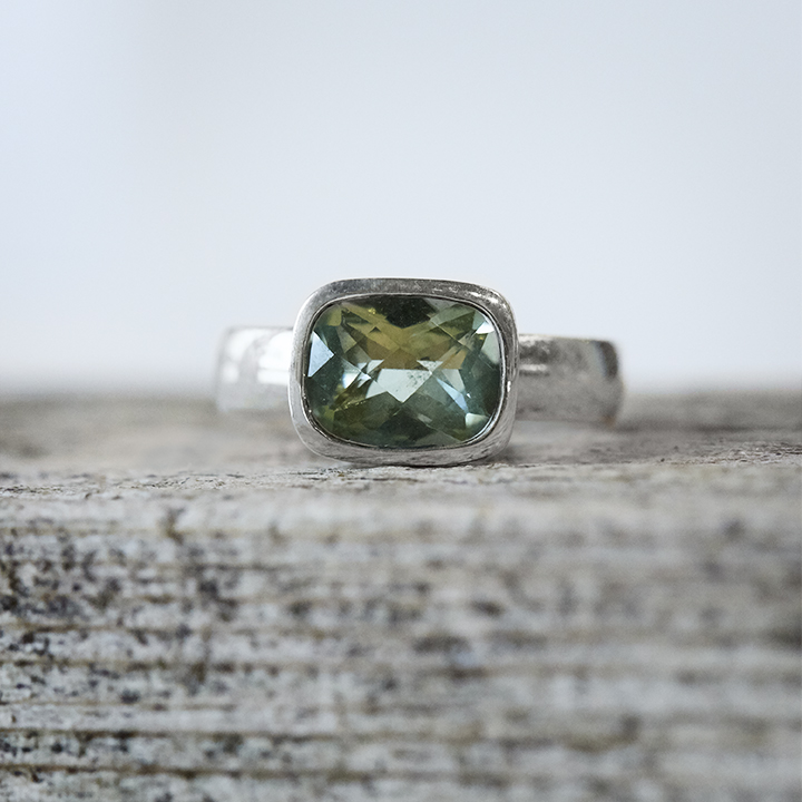 Andrea Mueller,  Green Quartz Cushion Cut Ring in Sterling Silver
