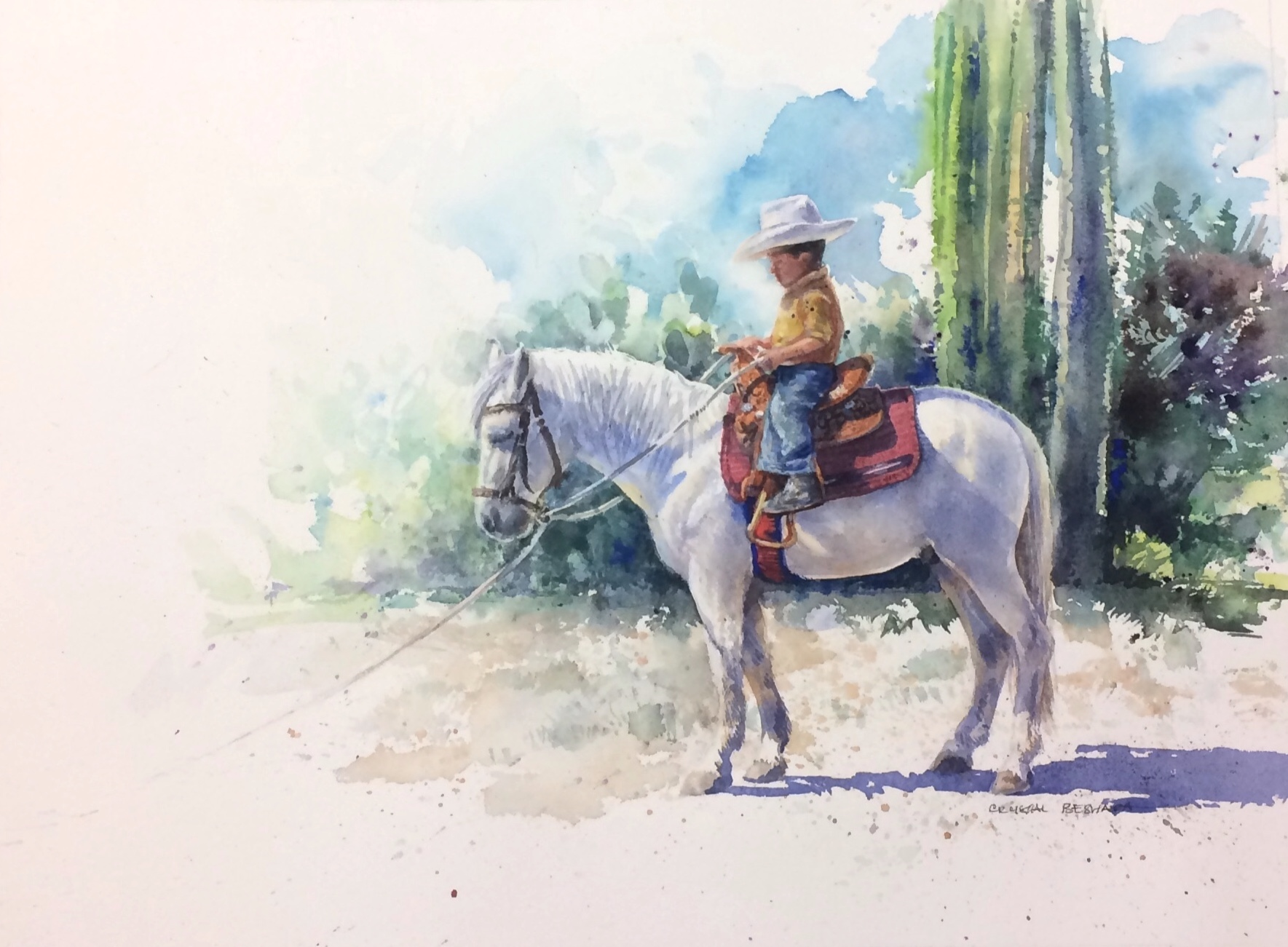 Crystal Beshara,  Little Caballero , watercolour on paper