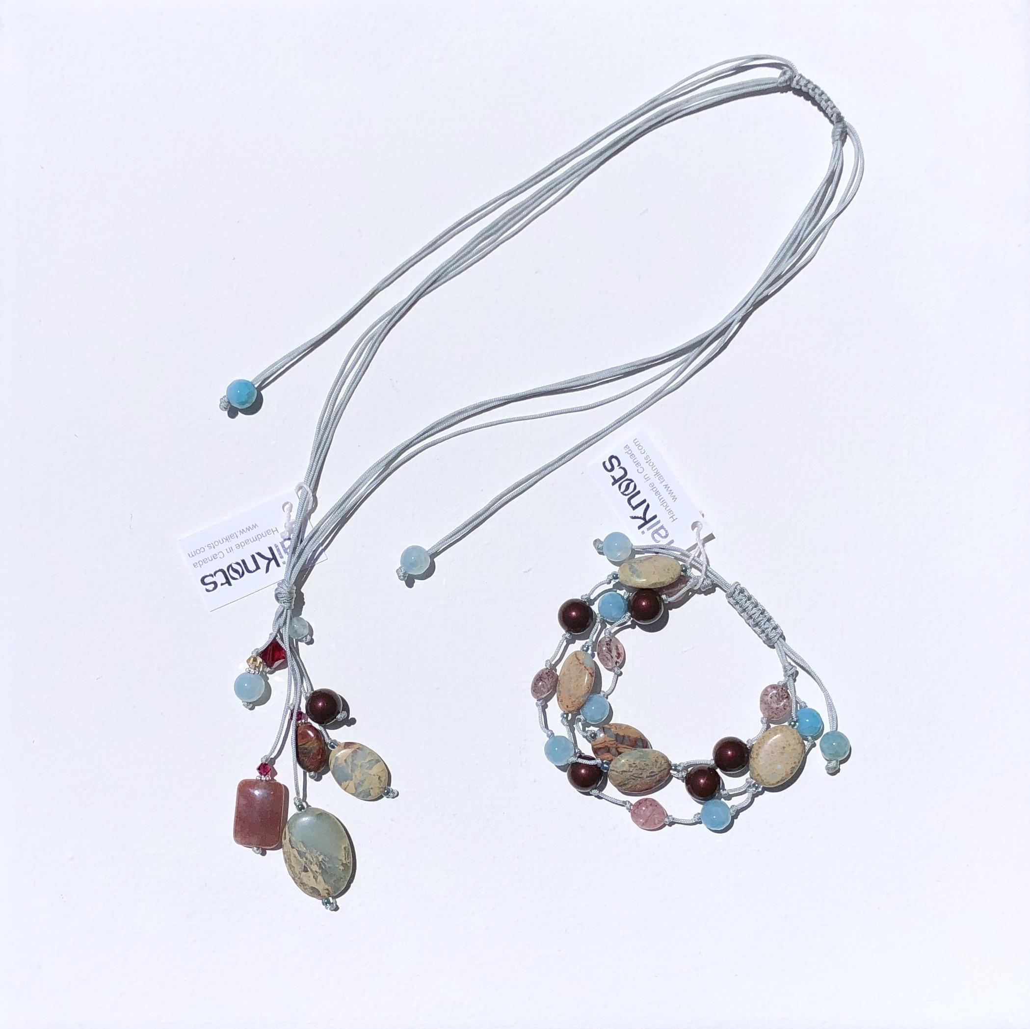 TK_Simple cluster necklace aqua and 3 strand bracelet aqua.jpg