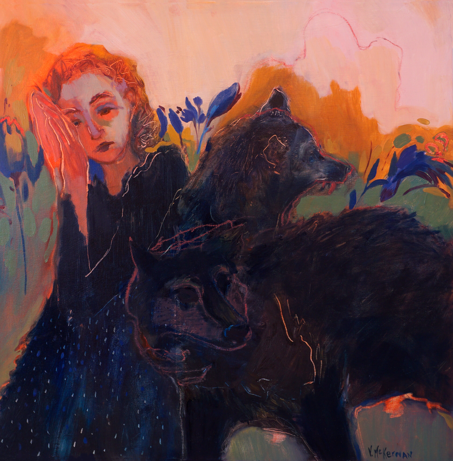 With Wolves , oil on panel, 24 x 24 in. (61 x 61 cm)