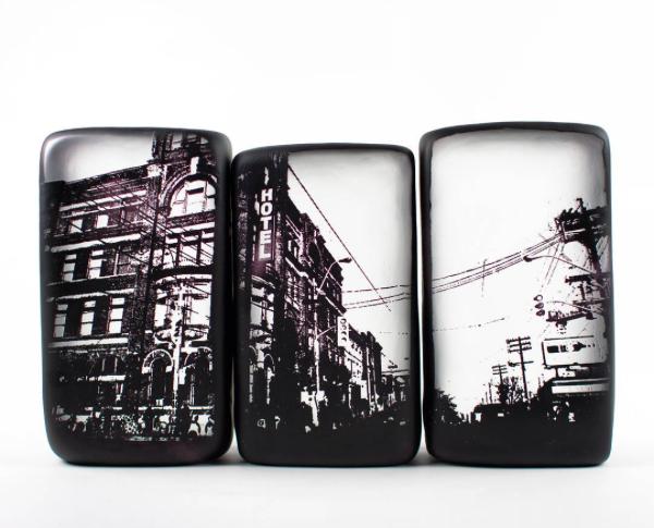 Gladstone Hotel Photobox Set,  mixed media on blown glass,  13 x 8 x 2 in. (33 x 20.5 x 5 cm)