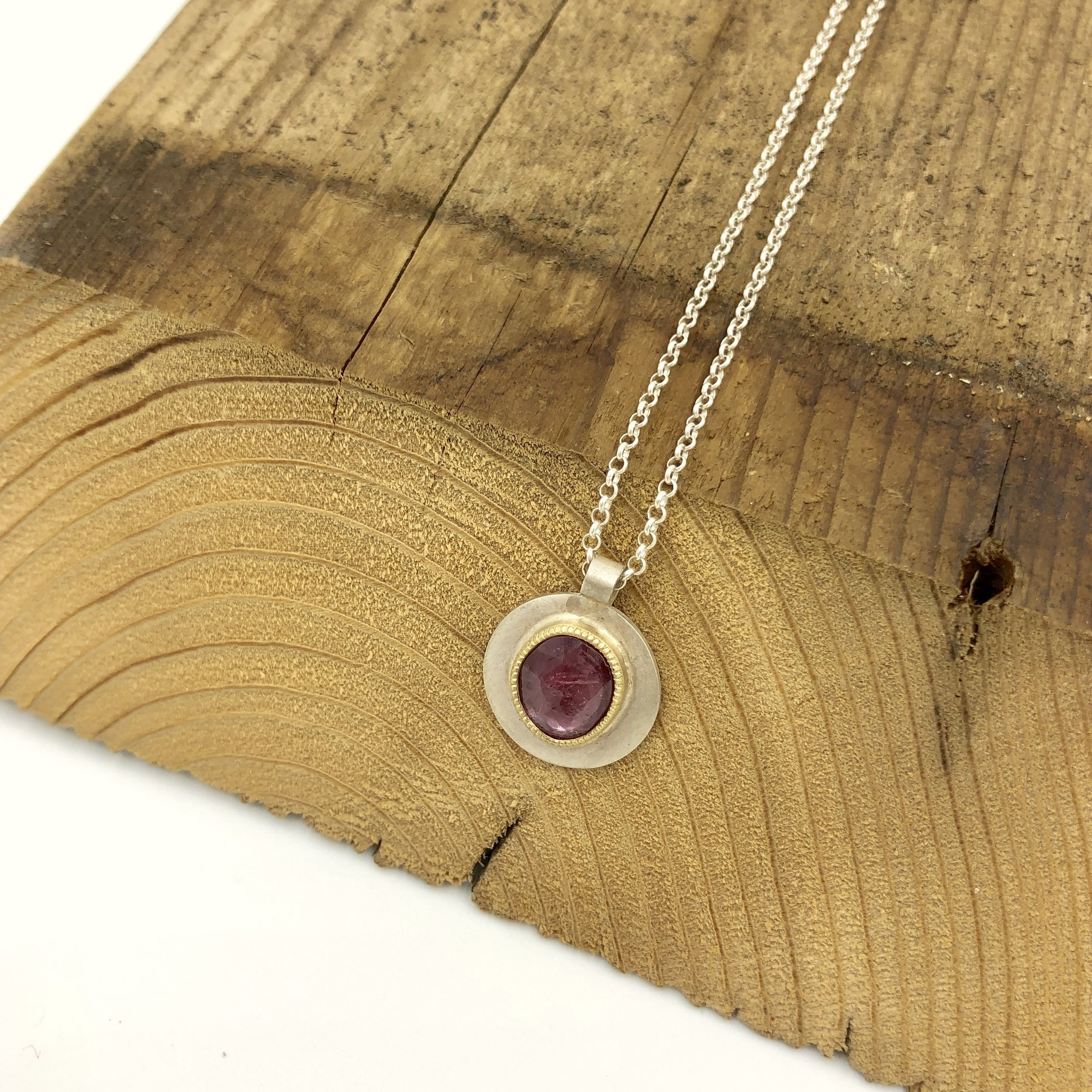 Andrea Mueller, Pink sapphire, gold and sterling silver necklace