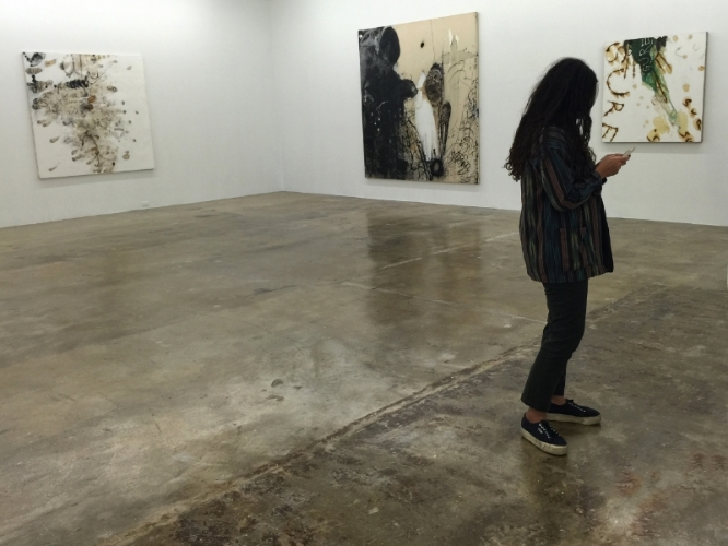 """installation view of """"no man's land"""" exhibition, rubell family collection, 2015-16"""