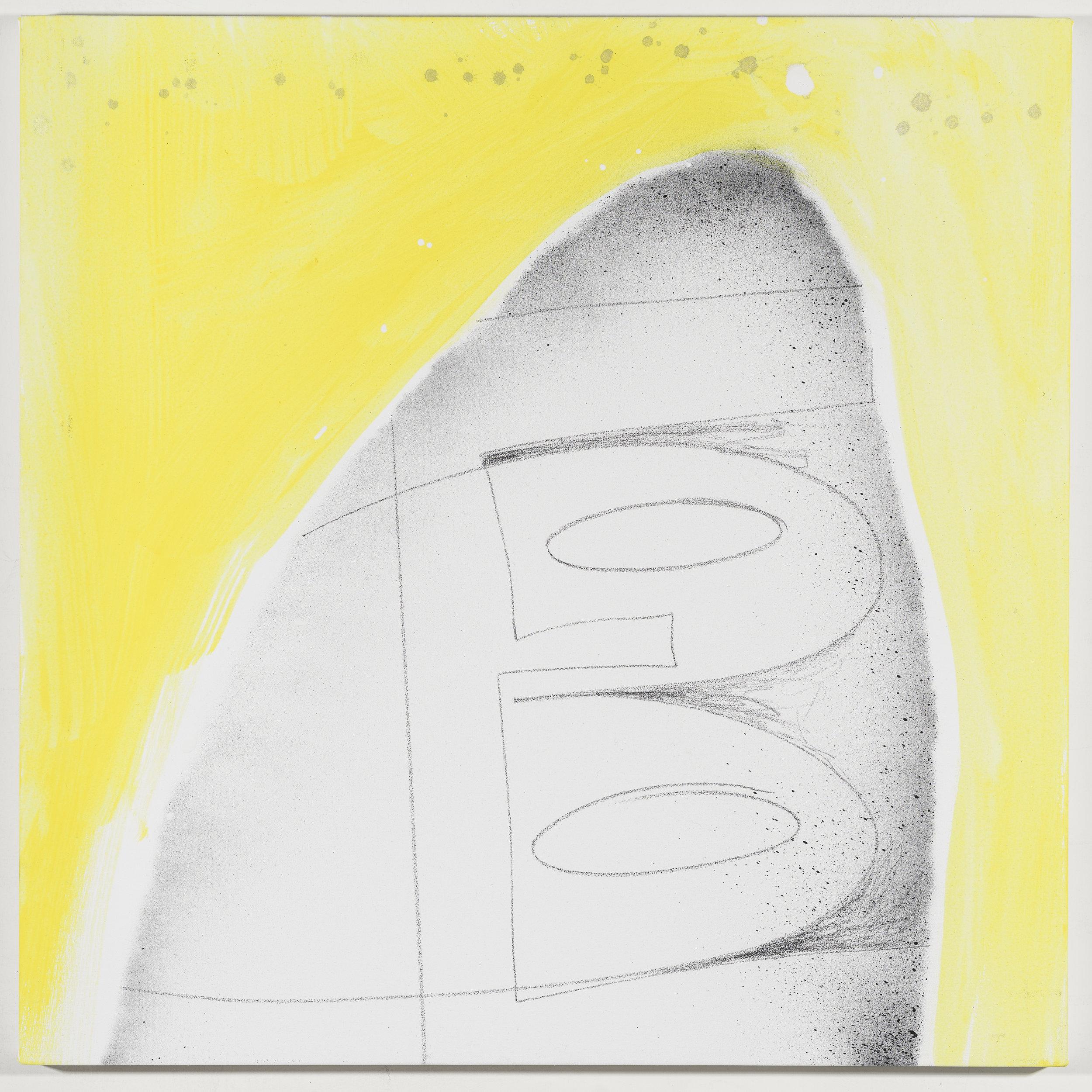 Initials: Bridget Everett   2018  Graphite and acrylic on canvas  20 x 20 inches; 51 x 51 cm