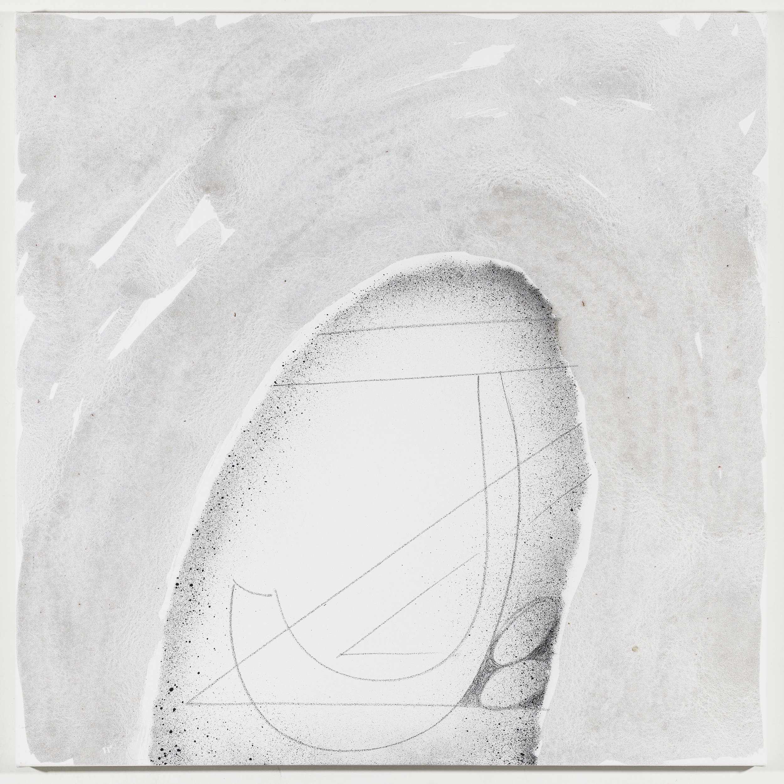 Initials: Jenny Zigrino   2018  Graphite and acrylic on canvas  20 x 20 inches; 51 x 51 cm