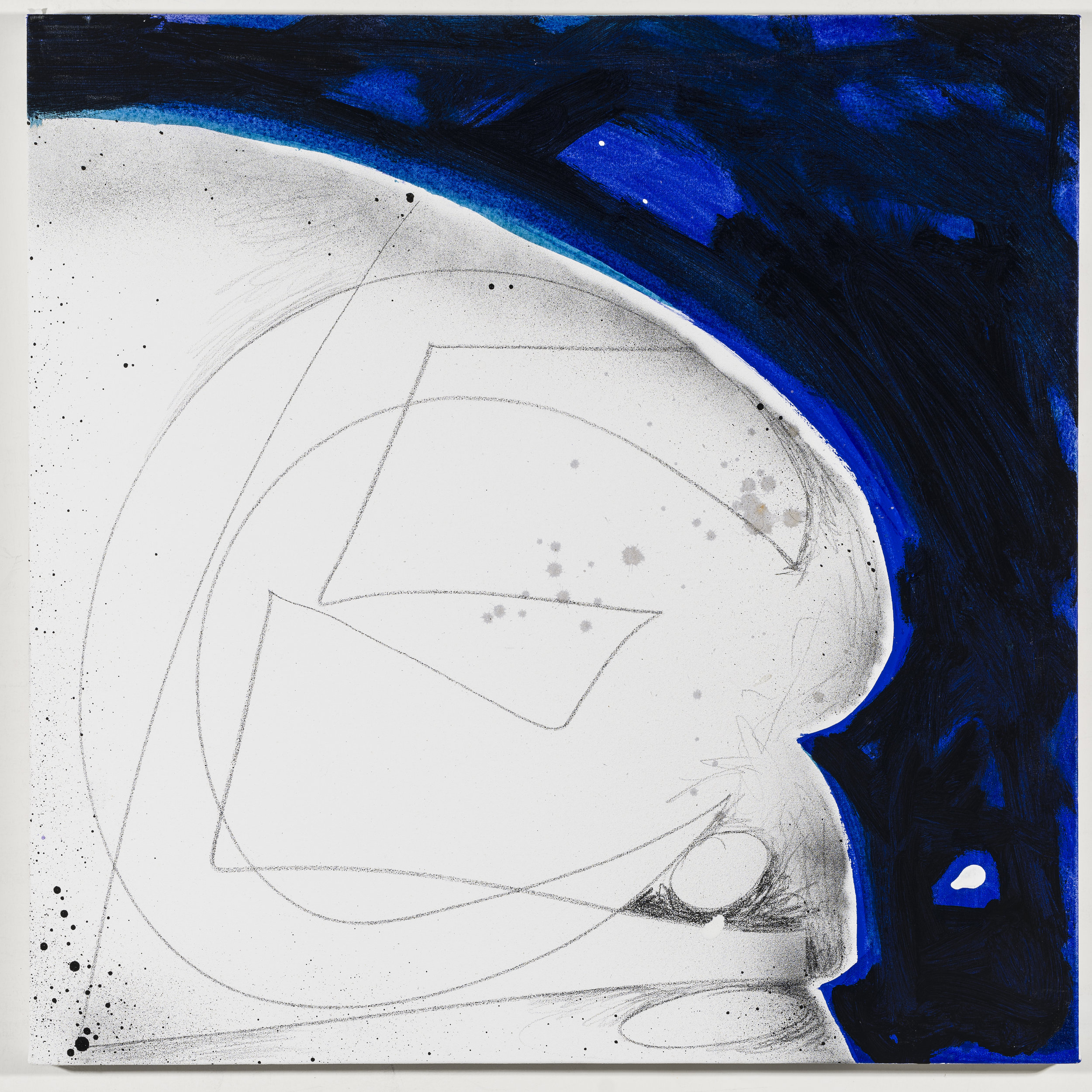 Initials: Cameron Esposito   2018  Graphite and acrylic on canvas  20 x 20 inches; 51 x 51 cm