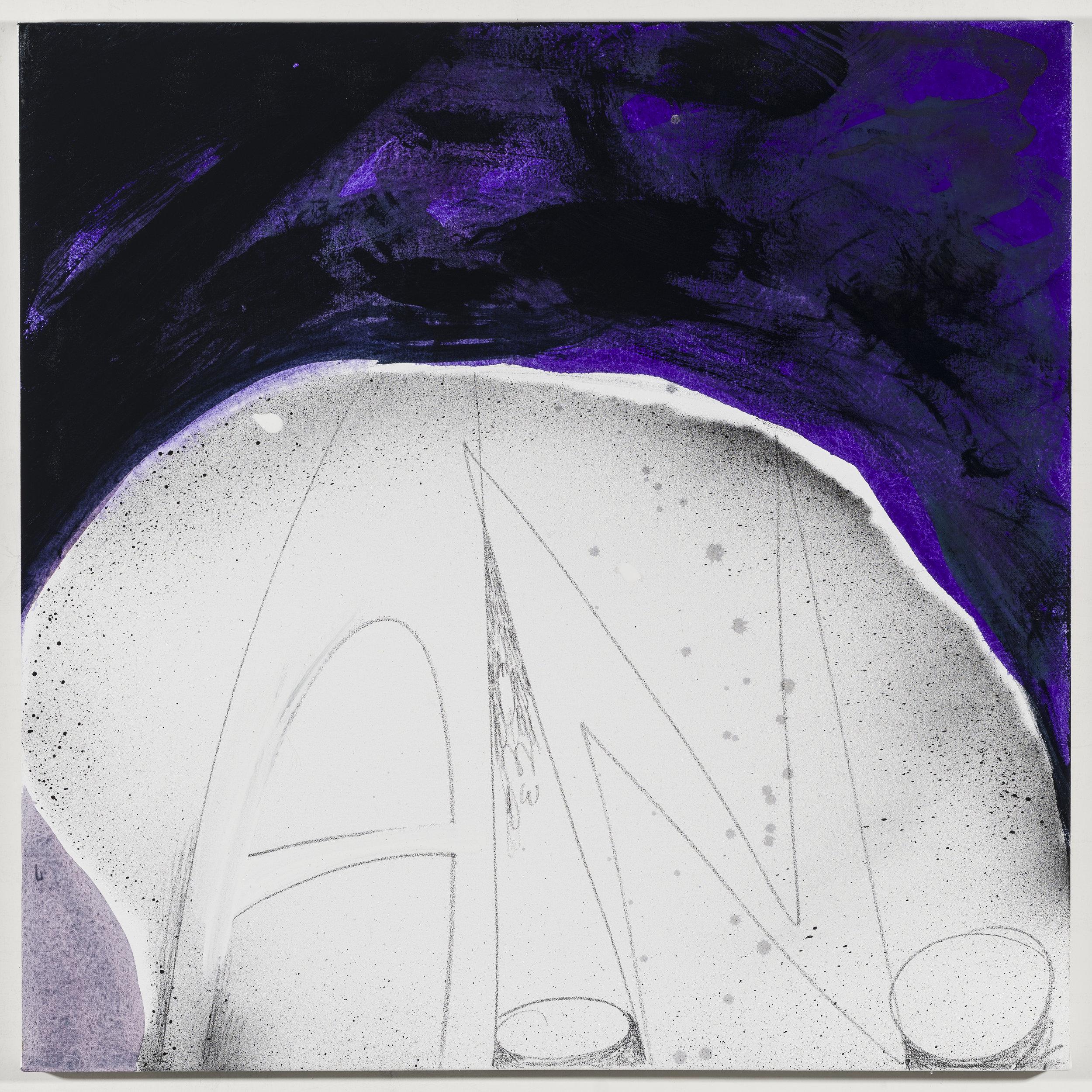 Initials: Aparna Nancherla   2018  Graphite and acrylic on canvas  20 x 20 inches; 51 x 51 cm
