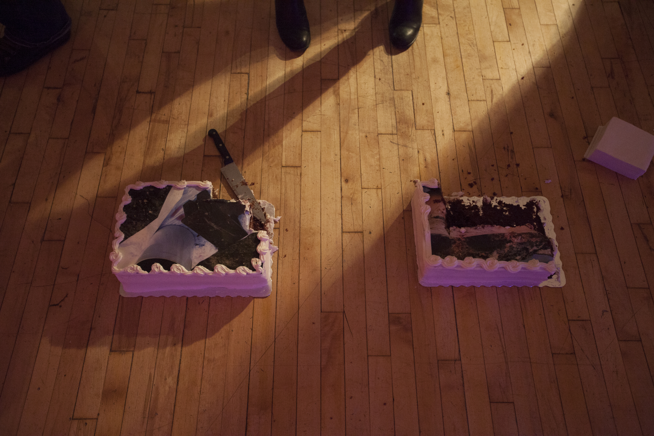 Detail, Roxanne D. Crocker's   CAKE   at the opening of  you know it when you feel it  as part of Lisi Raskin's  Recuperative Tactics  , Art in General, April 19, 2014. Image credit: Steven Probert