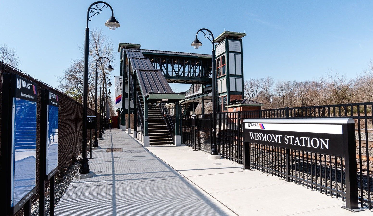 New NJ Transit train stop at Wesmont Station located in Woodridge, NJ