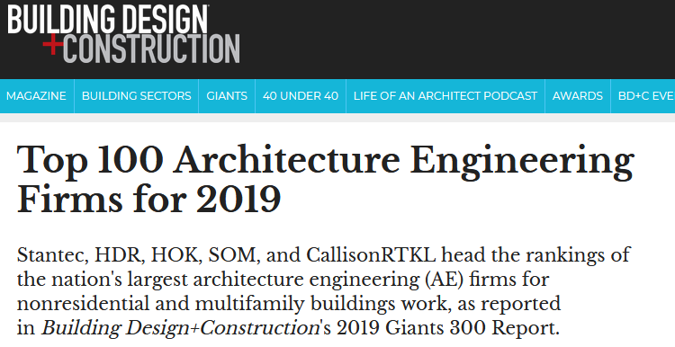 PS&S Ranks in BD&C Magazine Top 100 Architecture Engineering Firms for 2019.png