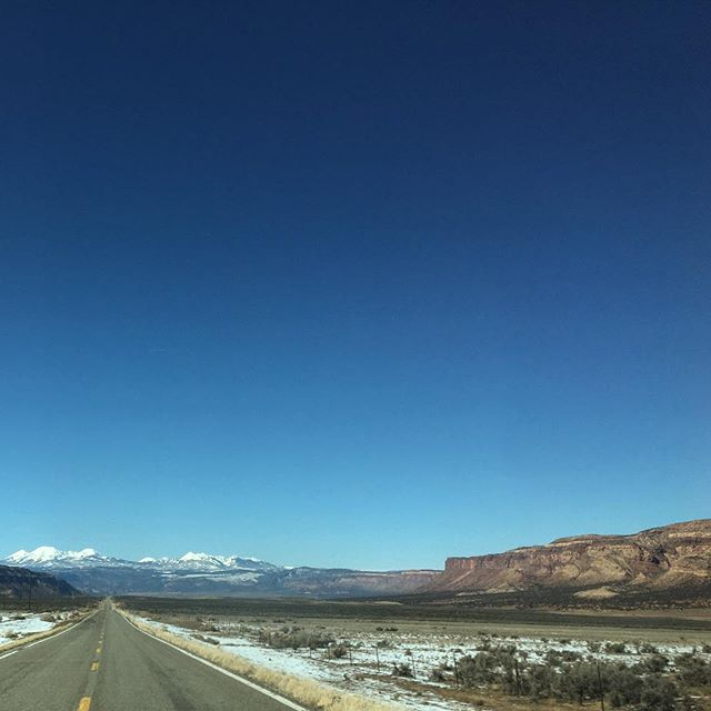 The drive back had brief warmth thru Moab, then right into cold again.