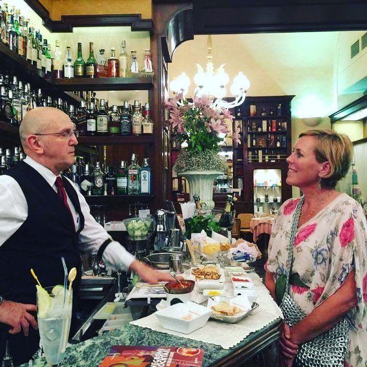 Meeting Luca Picchi at his bar at the Hotel Rivoire in the Piazza della Signoria.