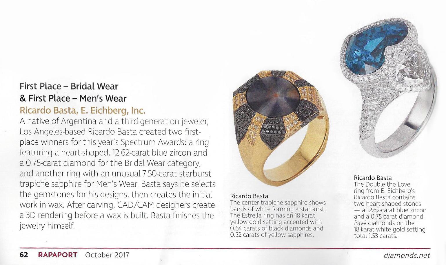 Ricardo Basta Fine Jewelry in Rapaport October 2017
