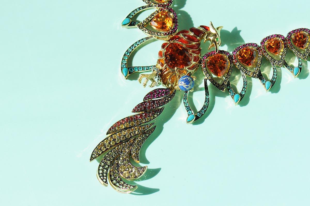 Phoenix Rising Mandarin Garnet necklace by Ricardo Basta Fine Jewelry