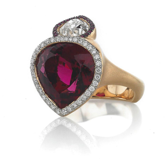 2016 Spectrum - 2nd Place Evening Wear    Ricardo Basta Fine Jewelry & E. Eichberg Jewelers   18k rose gold ring featuring a 10.41 ct rubellite Tourmaline accented with Diamonds (.23 ctw) and Ruby melee (0.5 ctw).