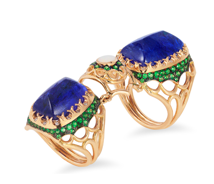 2016 Spectrum - Editor's Choice    Ricardo Basta Fine Jewelry & E. Eichberg Jewelers   18k rose gold ring featuring two sugarloaf Tanzanites (23.26 ctw) accented with Opal, Tsavorite Garnets (1.71 ctw) and Diamonds (.06 ctw).