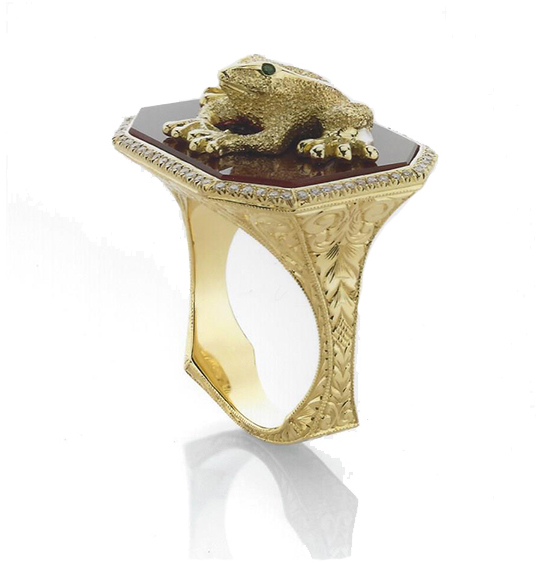 "2016 Spectrum, 1st Place Business/Day Wear    Ricardo Basta Fine Jewelry & E. Eichberg Jewelers   18k yellow gold ""Enchanted Frog"" ring featuring Carnelian, tsavorite Garnet and Diamonds (.18 ctw)."