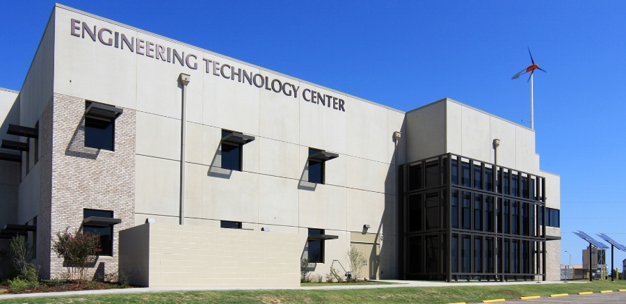 The OSU-OKC Engineering Technology Center features solor panels and a wind turbine.