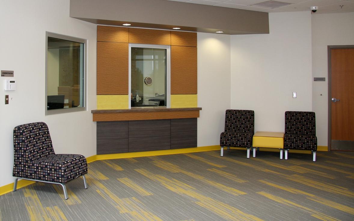 Security vestibule in reception area at Mid-Del Elementary