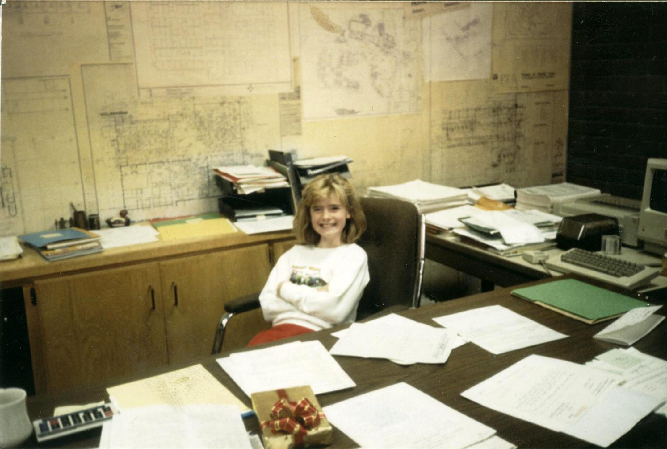 Summer DeHart in her dad's office.
