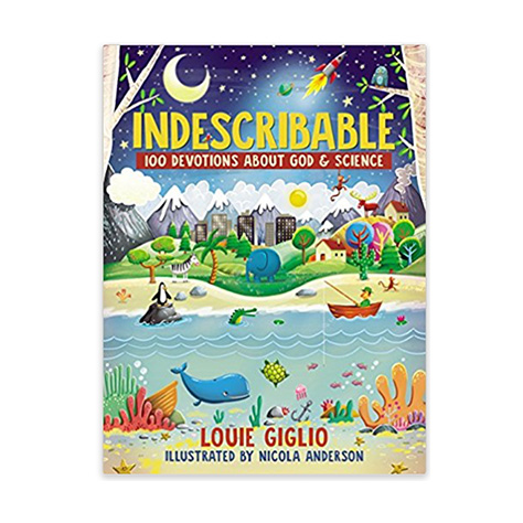 "Each devotion features a  "" Be Amazed ""  section with fascinating facts, hands-on activities, and a closing prayer. Based on Louie Giglio's popular messages ""Indescribable"" and ""How Great Is Our God,""  Indescribable:   100 Devotions About God & Science  will help kids discover the incredible creation of our indescribable God."
