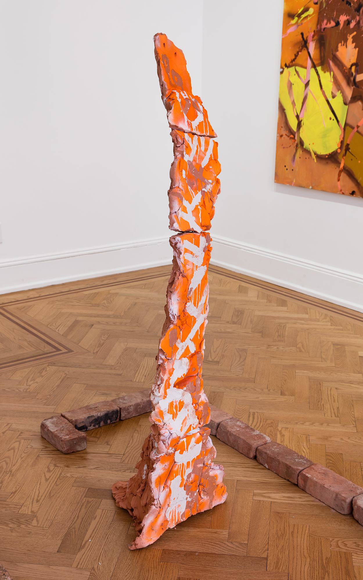 "Clay obelisk, Installation at Boers-Li Gallery, ""Worlds Without Borders"", 2019"