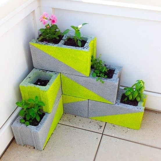 Paint Cinder Blocks Bright Neon Colors & Add Flowers